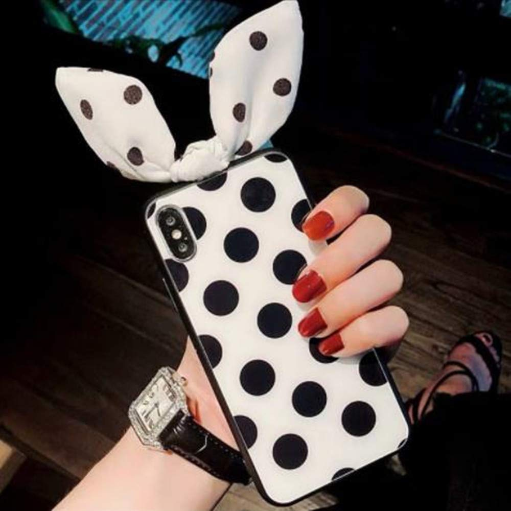 iPhone XR 3D Cute Rabbit Ear Case,Aulzaju iPhone XR Super Lovely Bling Beauty Soft Shockproof Case Fashion Polka Dot Cool Creative Cover for iPhone XR 6.1 Inch-White