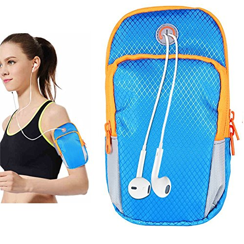 Cell Phone Arm Band Men Running Case Arm Bag Blue Gym Phone Holder for iPhone x,8,7 Plus Samsung S9,S8,S7 with Adjustable Elastic Band Wallet Case Card Key Holder for Outdoor Exercise Armbag 5.7 Inch