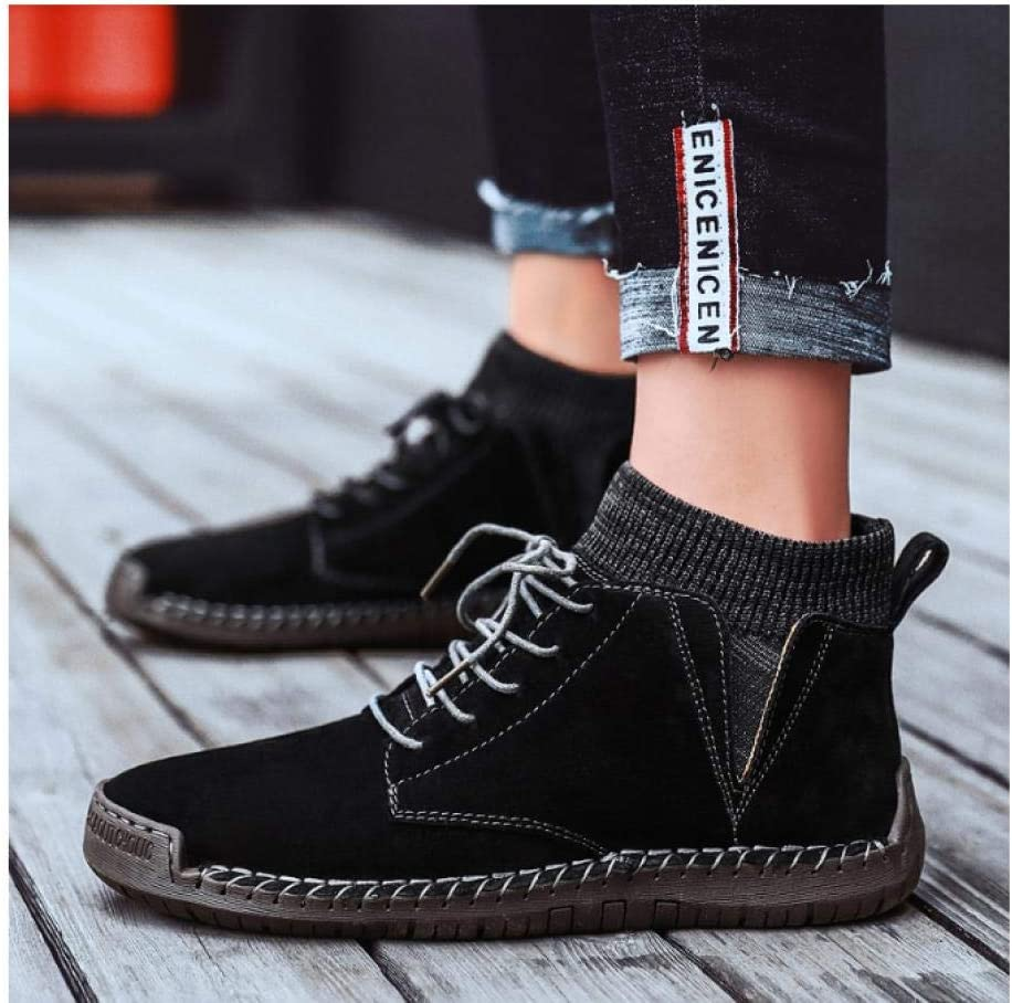 WAXFAS Men's Casual Shoes Men's High Boots and Ankle Boots Men's Fashion Shoes Outdoor Men's Translucent Sneakers 40
