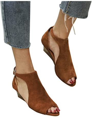 Women Ankle Flats Booties Cutout Open Toe Sandals Buckle Strap Wedges Shoes by Lowprofile