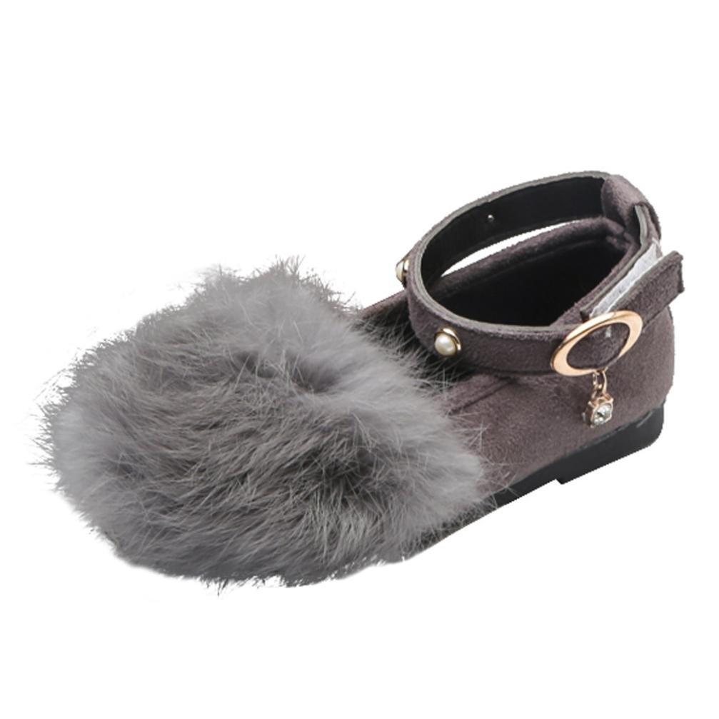 nacome幼児用ベビーGirls Plush Bowソフトソールノンスリップ暖かいベルベット雪靴 B0774MPCMZ  グレー US:9