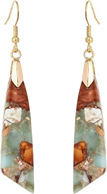 Made in USA. Hypoallergenic Jasper Crystal Stud Earrings