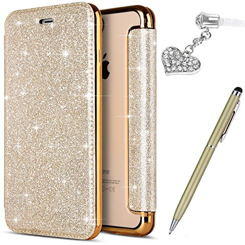 iPhone 8 Plus Case,iPhone 7 Plus Case,ikasus Shiny Glitter Plating TPU PU Leather Flip Wallet Pouch Bookstyle Cover & Card Slots Case Cover +Touch Pen Dust Plug for iPhone 8 Plus / 7 Plus,Gold