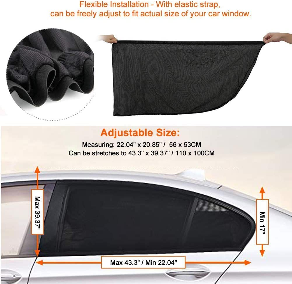Protect Baby Kids Pet from Suns Glare /& Harmful UV Rays 2 Packs Fit for All Cars//Trucks//SUVs Car Window Shade,Side Window Shade Stretchable and Breathable Mesh Rear Window Sun Shade