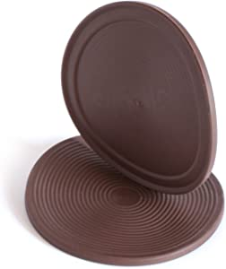 Slipstick CB885 3-1/2 Inch Large Non Slip Rubber Floor Surface Protector Pads (Set of 4 Grippers) Round - Chocolate Brown