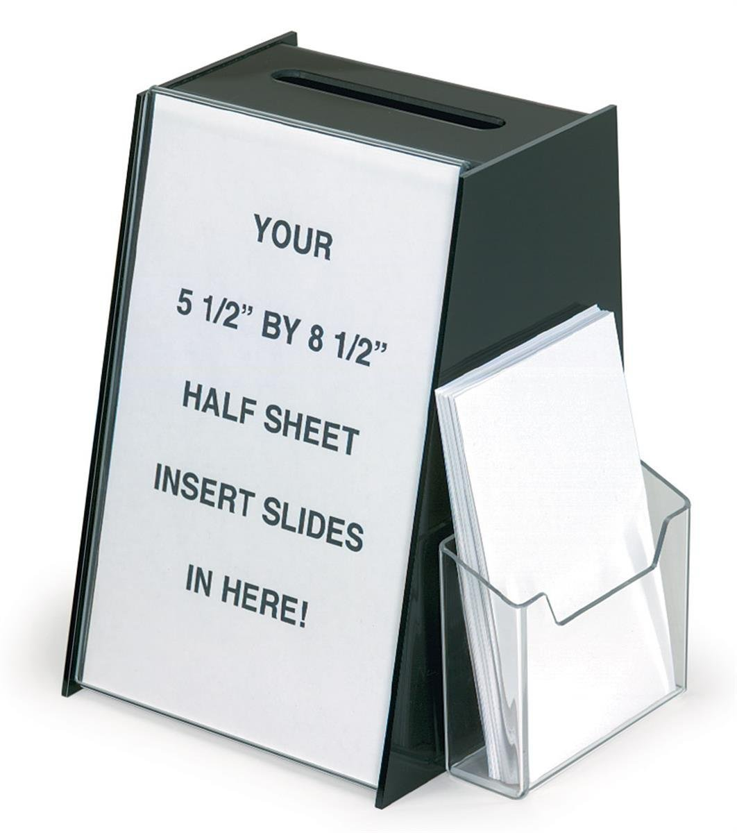 Marketing Holders Acrylic Ballot Box with Holder for 5.5 by 8.5 Inch Sign and a Brochure Pocket - Black (4, 5.5'' x 8.5'')