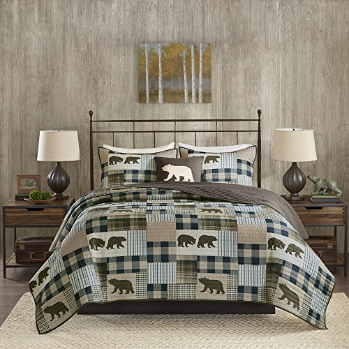 4 Piece Blue Brown Plaid KingCal King Quilt Set, Cabin Lodge Hunting Theme Bedding, Animal Print Bear Striped Checkered Pattern Patchwork Lumberjack Rugby Stripes Bears Motif Reversible, Polyester by N2