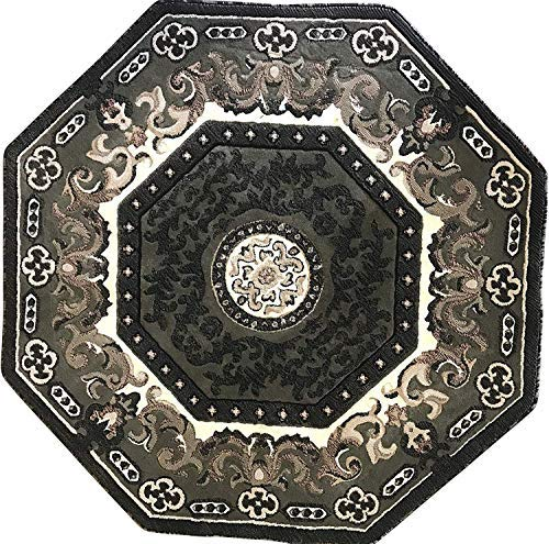 Americana Traditional Octagon Persian Oriental Area Rug Green Black Beige BrownDesign 101 (7 Feet 3 Inch X 7 Feet 3 Inch)