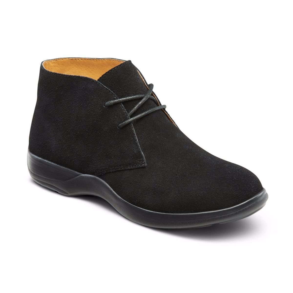 Dr. Comfort Women's Cara Casual Suede Leather Bootie Chukka Boot, Black, 9.5 Wide (C/D) US