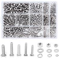 Yuhtech Zeskantkop bouten, 510 stuks assortiment RVS zeshoekige schroeven moeren zeskant en ringen