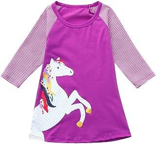 Mädchen Kleider Festlich, Weant Baby Kleidung Mädchen Outfits Pferd Drucken Streifen Sets Kleider FüR Kinder Mädchen Kleidung Partykleid Chiffon Kleid Baby Tägliche Kleidung Pullover