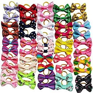 Chenkou Craft 50pcs/25pairs New Dog Hair Bows with Rubber Band Bow Pet Grooming Products Mix Colors Varies Patterns Pet Hair Bows Dog Accessories 8