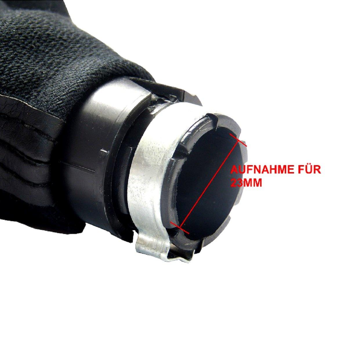 L/&P A251-12 Schaltsack Schaltmanschette Schwarz Naht Blau Schaltknauf Chrom Rahmen mit 5 Gang mit 23mm Knauf als Plug Play Ersatzteil f/ür 1J0711113