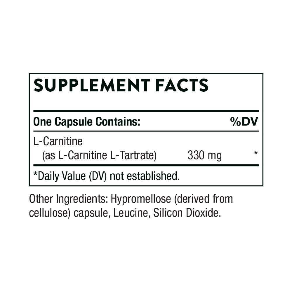 Thorne Research – L-Carnitine – Amino Acid Supplement to Support Fat Metabolism and Energy Production – 60 Capsules