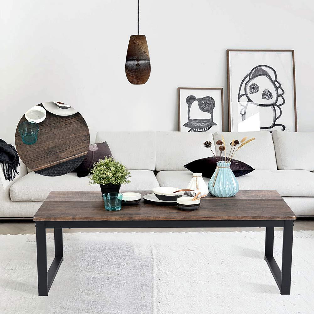 Aingoo Rustic Coffee Table Large Sofa Table Mid-Century Rectangle Metal Frame Dark Brown 43