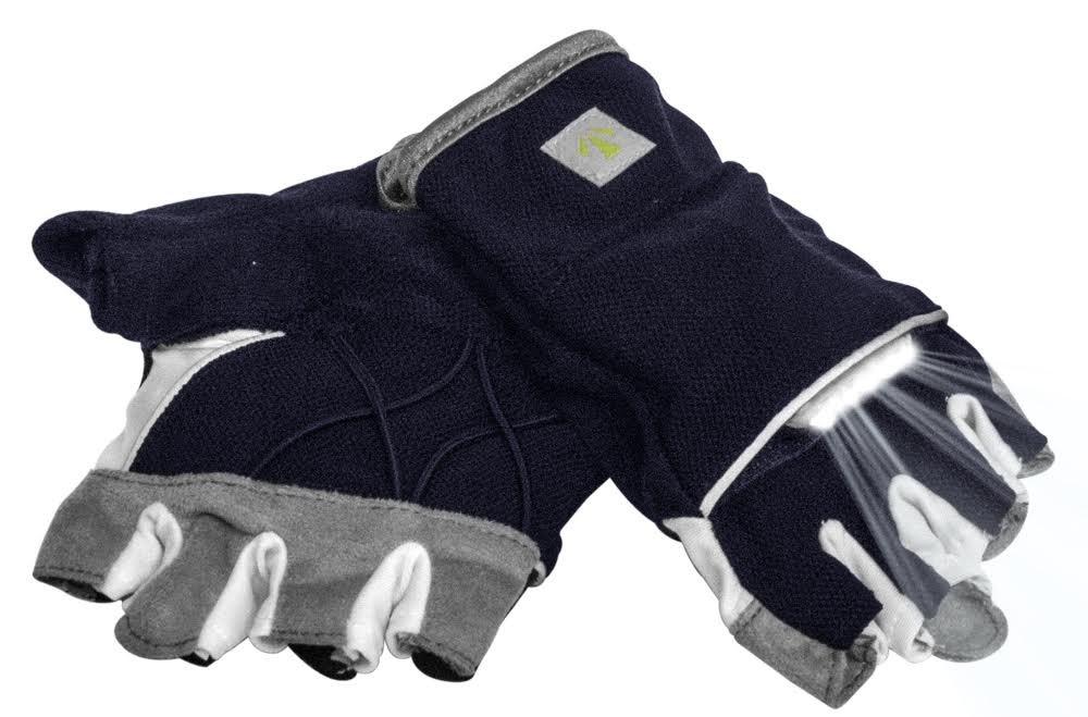 RunLites Mangata - Gloves with Lights - USB Rechargeable LED Lights - Half-Gloves (Navy, XX-Large)