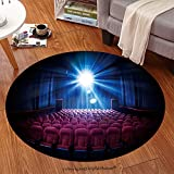 sophiehome Soft Carpet 257017468 Movie Theater with empty seats and projector High contrast image Anti-skid Carpet Round 24 inches