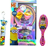 Children's Beauty Kit Minions Mix and Match Hair Set 10 Piece Set Wear as headband or bow, Minions Tube Toppers, and Minions Comb Brush