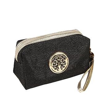 39440b746f Glitter Travel Cosmetic Bag Women Fashion Multifunction Makeup Pouch  Toiletry (Black)