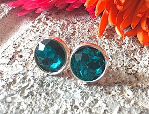 Dark turquoise Crystal Studs, 12mm blue stone, silver earrings, druzy earrings, blue earring, blue jewelry, silver jewelry, circle teal stud