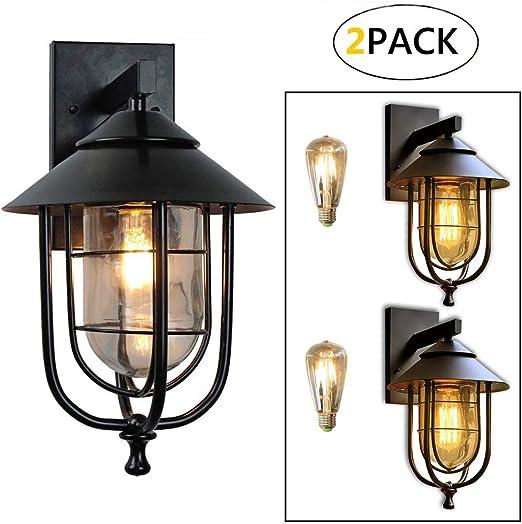 2 paquetes Tradicional lámpara exterior- farol colgante de pared, Rústica Lámpara De Pared Exterior Impermeable, Exterior Lámpara de Pared, Luces Jardín Aplique Iluminación Exterior: Amazon.es: Iluminación