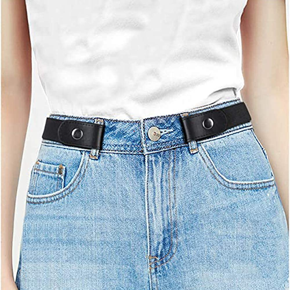 Black Buckle Free Adjustable Women Belt, No Buckle Belt Invisible Elastic Stretch Belt for Jeans Pants