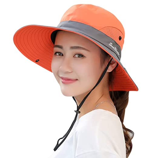 ac532425 YSense Womens Outdoor Sun Hat UV Protection Foldable Mesh Wide Brim Summer  Beach Fishing Hat Orange