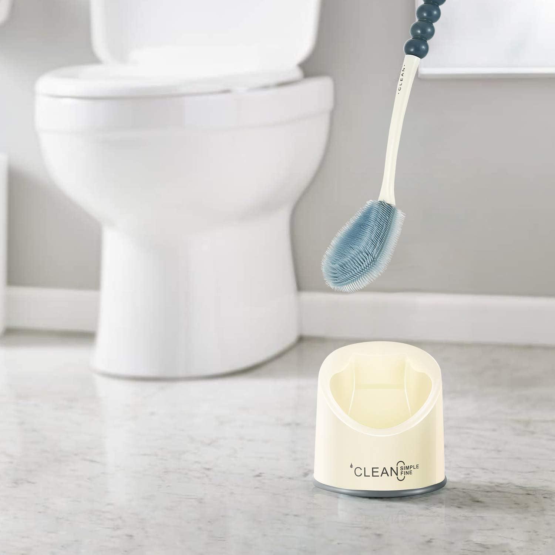 Toilettenbürste,Badezimmer-WC-Bürste und Halter, Silikon-Borsten