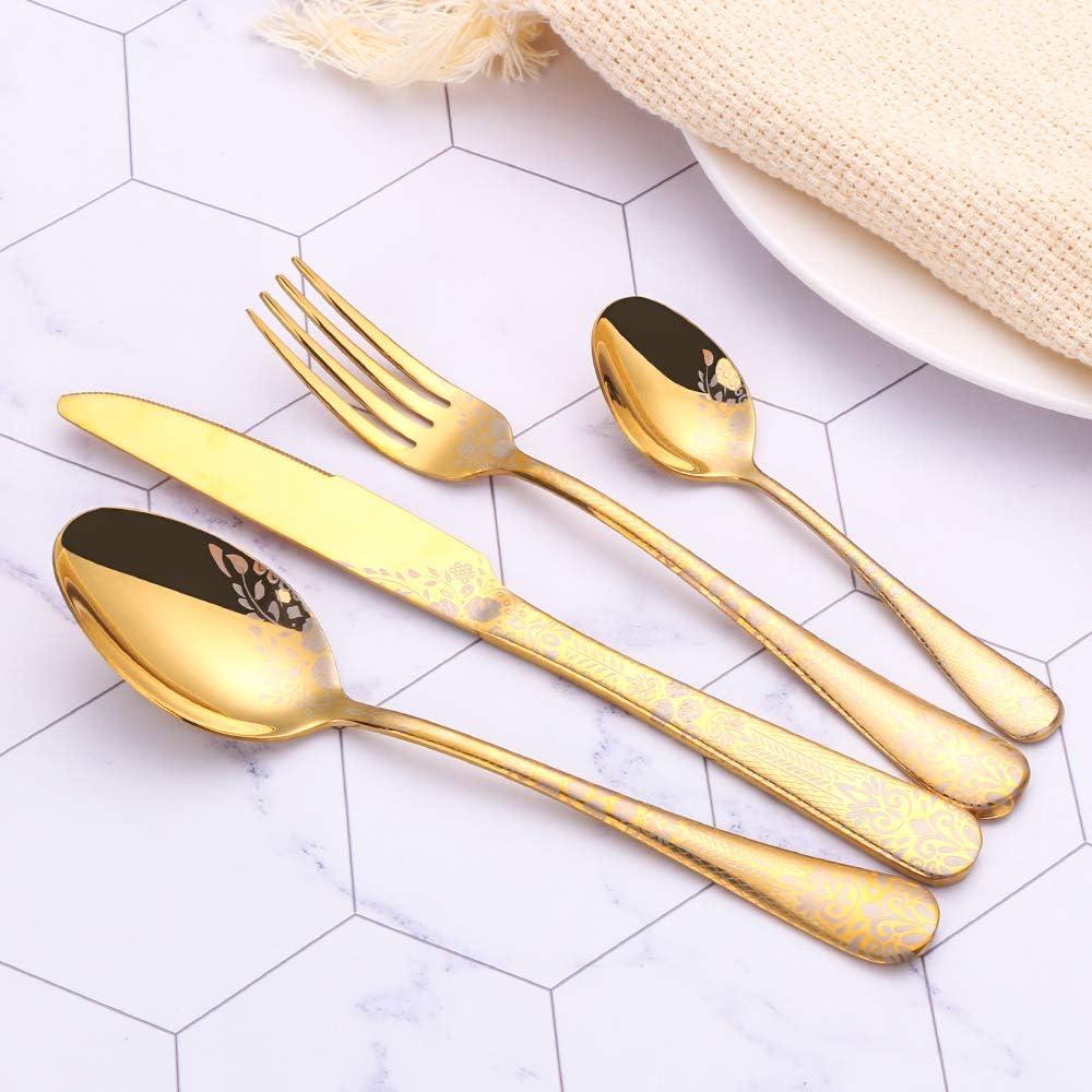 PHILIPALA Juego de cubiertos de 24 piezas con patr/ón cubiertos de acero inoxidable juego de cubiertos para 6 personas oro apto para lavavajillas