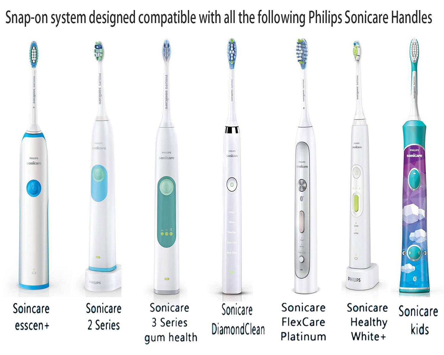 Replacement Brush Heads for Sonicare Plaque Control HX9023/HX9024(6pack), fits Philips Sonicare 2 Series, 3 Series, FlexCare, HealthyWhite, DiamondClean Electric Toothbrush