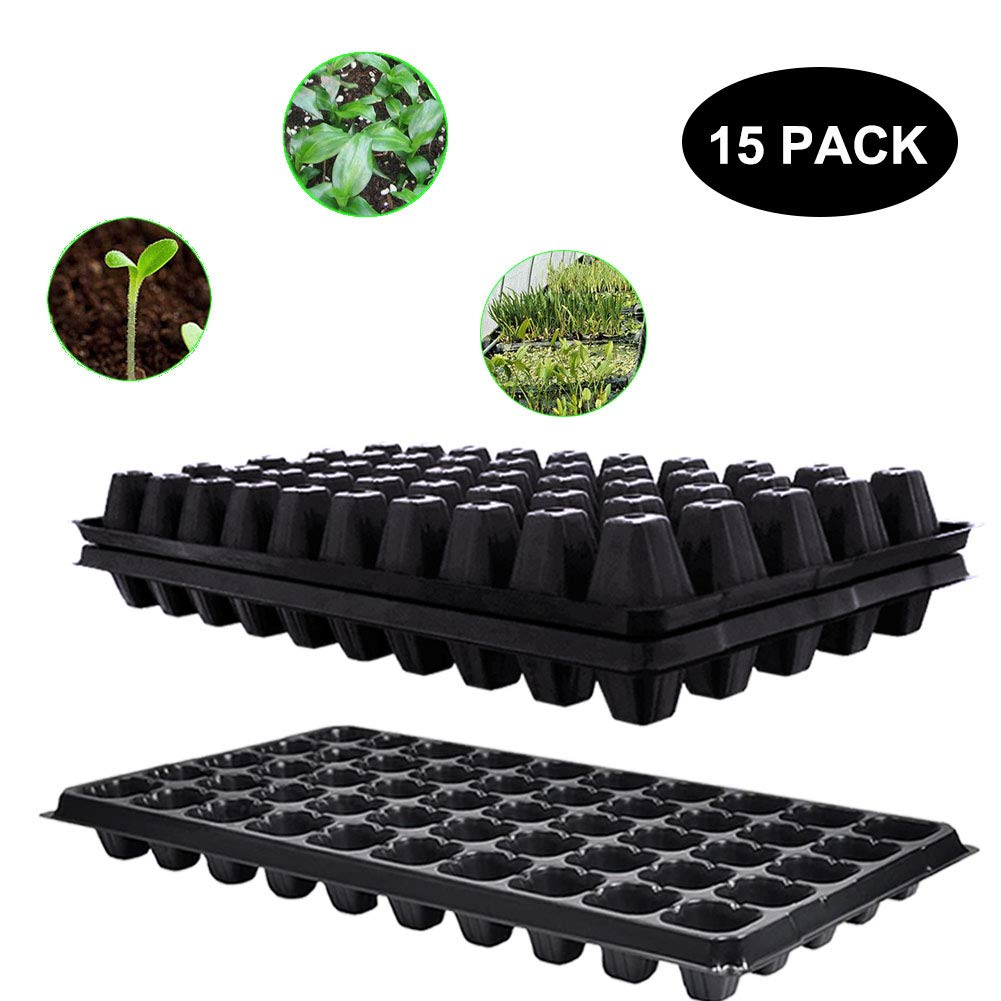 Seed Starter Tray,15 Pack BPA-Free Seeding Starter Tray with Drain Holes 50-Cell Planting Trays for Planting Seedlings, Greenhouse, Wheatgrass, Microgreens. by WEWBABY