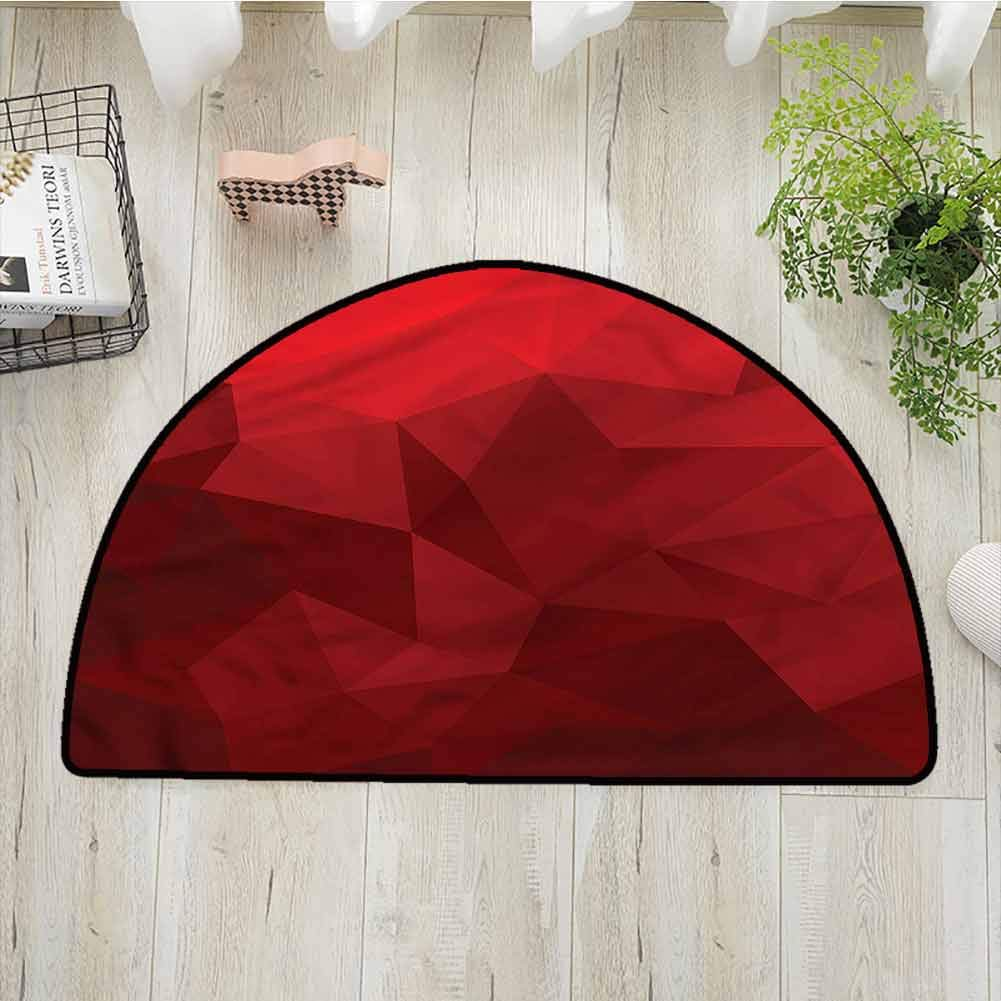 Living Room Bedroom Carpets Red,Triangular Mosaic with Poly,W35x L24 Half Round Bathroom Rugs
