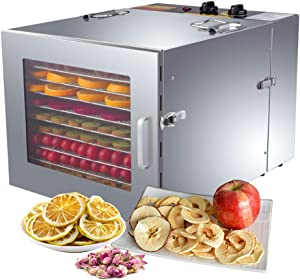 ZXMOTO Commercial Food Dehydrator 10 Trays Stainless Steel Jerky Dehydrator 110V 1000W Meat Dehydrator Jerky Dryer for Beef Fruit Jerky Vegetable, Adjustable Time & Temperature Control