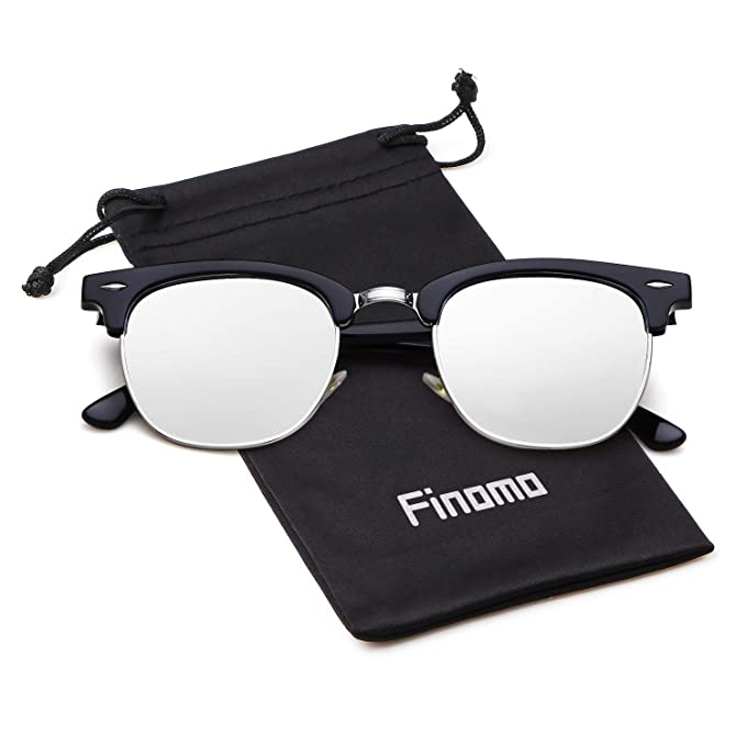 Finomo Gafas de sol polarizadas de medio marco Gafas de espejo de marca para hombres Mujeres