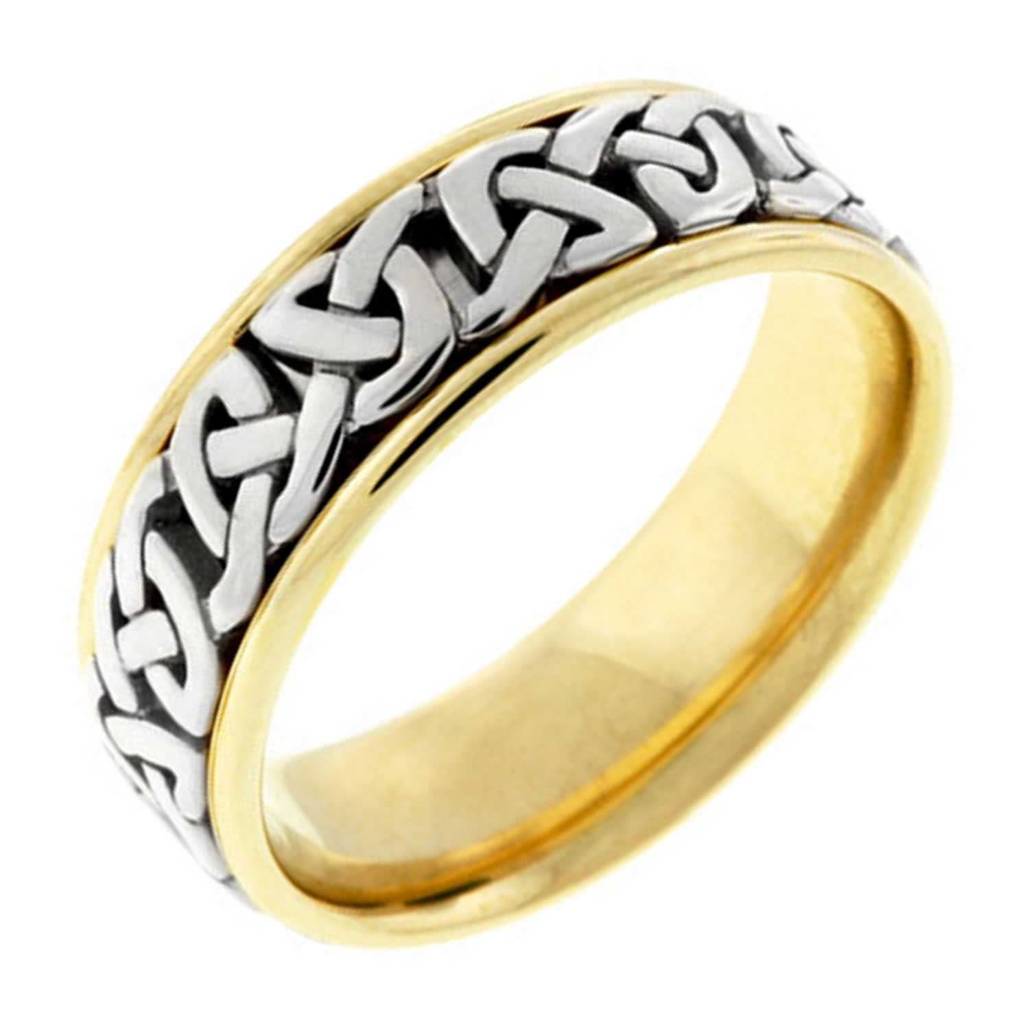 14K Two Tone Gold Celtic Love Knot Men's Comfort Fit Wedding Band (7mm) Size-13.5c1