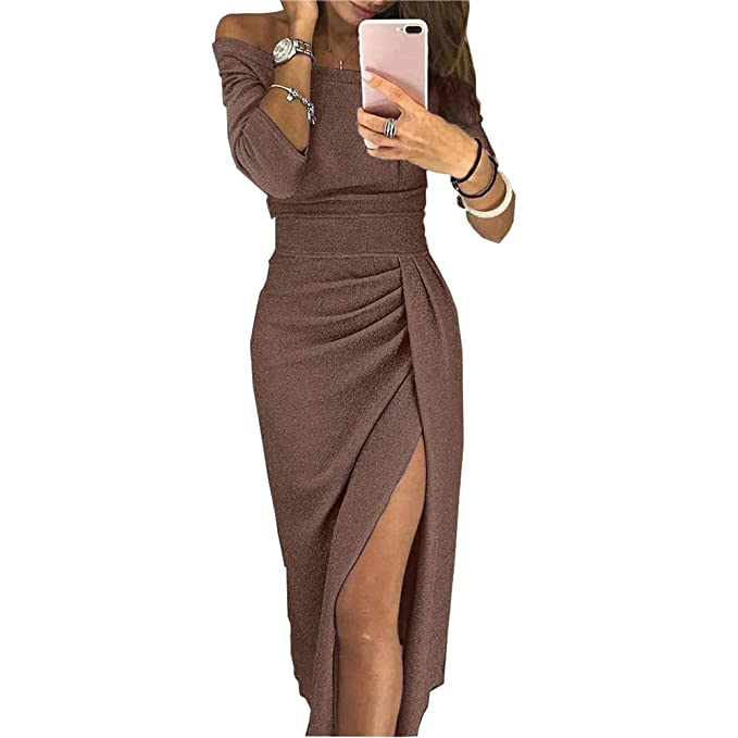 04596ce600bb Yiwa Fashion Women Slim Wrap Buttocks Off-Shoulder Dress Sexy Sparkling  Long Slit Dress Coffee