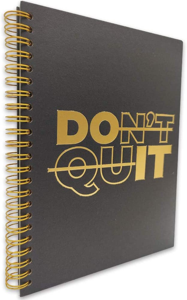 akeke Don't Quit Inspirational Hardcover Spiral Notebook/Journal, Gold Foil Words, Gold Wire-o Spiral, Funny Notes Diary Book Gift for Women, Friend, Sister, student, Daughter