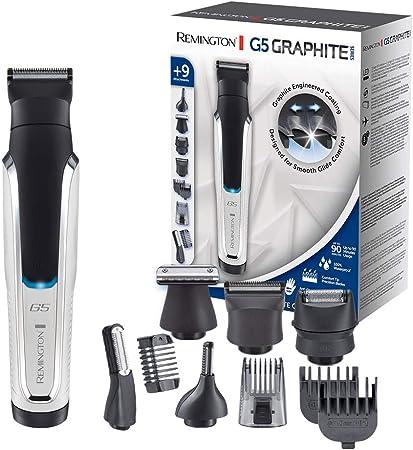 Remington G5 Graphite Series PG5000 - Recortador de Barba y Cortapelos, 9 Accesorios, Inalámbrico, Revestimiento de Grafito, para Vello Facial, Corporal y de Nariz, Blanco y Negro