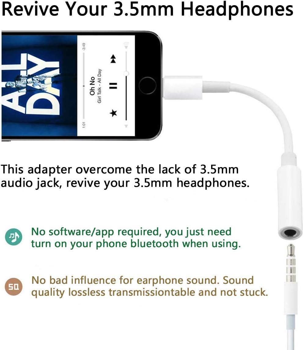 8 Adaptateur pour Casque pour iPhone X//XR//XS//XS//XS Max//iPad//iPod Support Tous iOS Prise Jack 3,5 mm Convertisseur D/écouteurs Adaptateur Audio Adaptateur Compatible avec iPhone 7 8Plus 7Plus