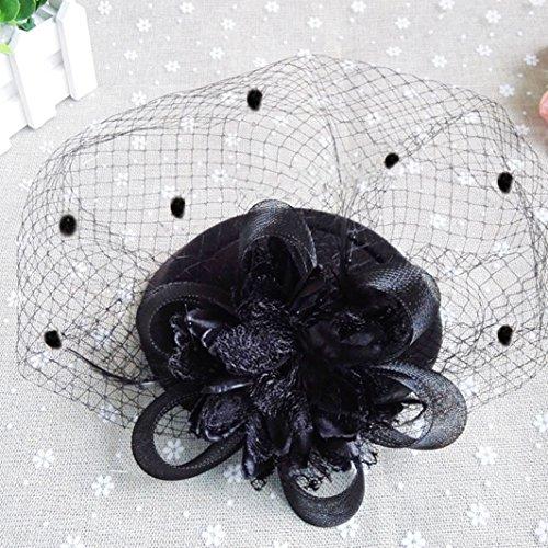 d5efd800a5d Fascinator Hats Pillbox Hat British Bowler Hat Feather Flower Veil Wedding  Hat (Black )