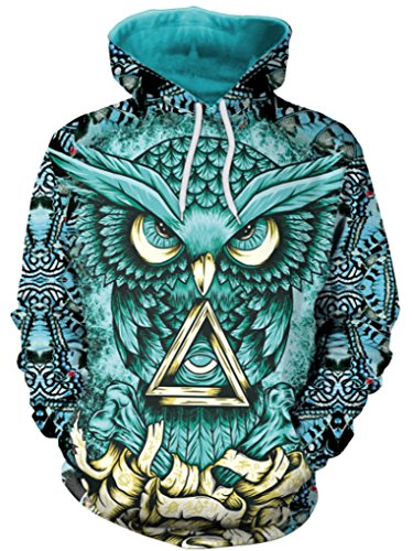 Thenice Women's Long Sleeve Hoodies Sweatshirts (L, owl)
