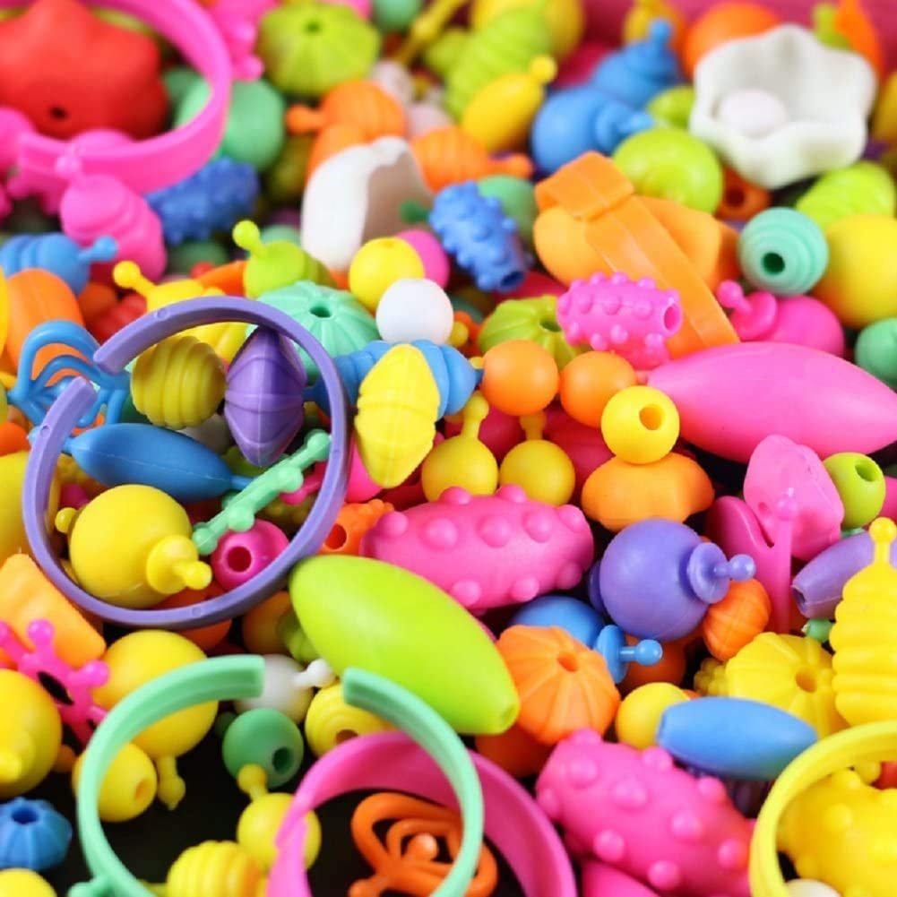 350pcs 6 Pop Beads for Little Girl Toys 4 7 Year Old Girls Gifts DIY Jewelry Making Kit for Kids Necklace Bracelet Creativity Snap Pop Beads Set Arts and Crafts Toys for Age 3 5