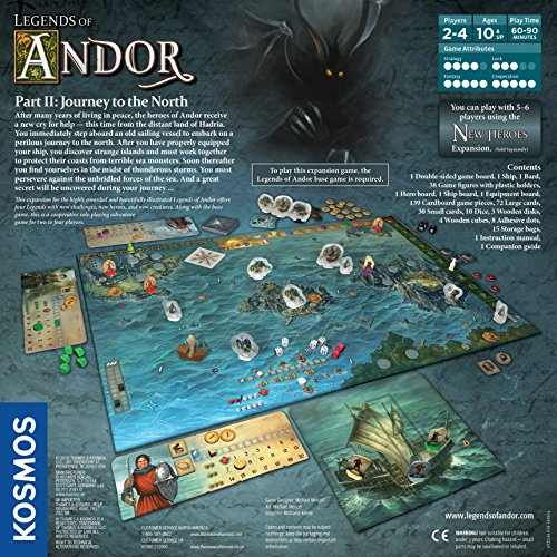 Legends of Andor: Journey to The North, Expansion Pack, Cooperative Board Game, 1 – 4 Players, Fantasy, Family Game by Kosmos