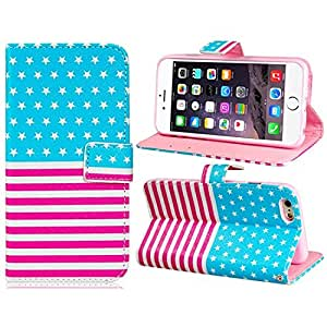 """Topforcity® Star & Stripes Pattern Faux Leather Flip Case with Mount Stand & Credit Card Slots for Apple iphone 6 4.7"""""""