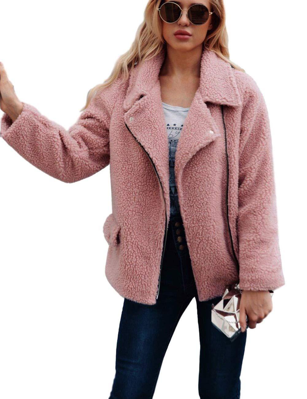 ZLSLZ Womens Ladies Cute Faux Fur Loose Furry Lapel Long Sleeve Event Zip Jacket Pink US L