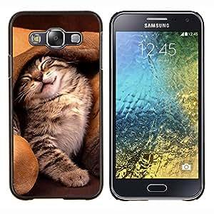 EJOOY---Cubierta de la caja de protección para la piel dura ** Samsung Galaxy E5 E500 ** --Gato del oído del perro lindo gatito Amigos dormir