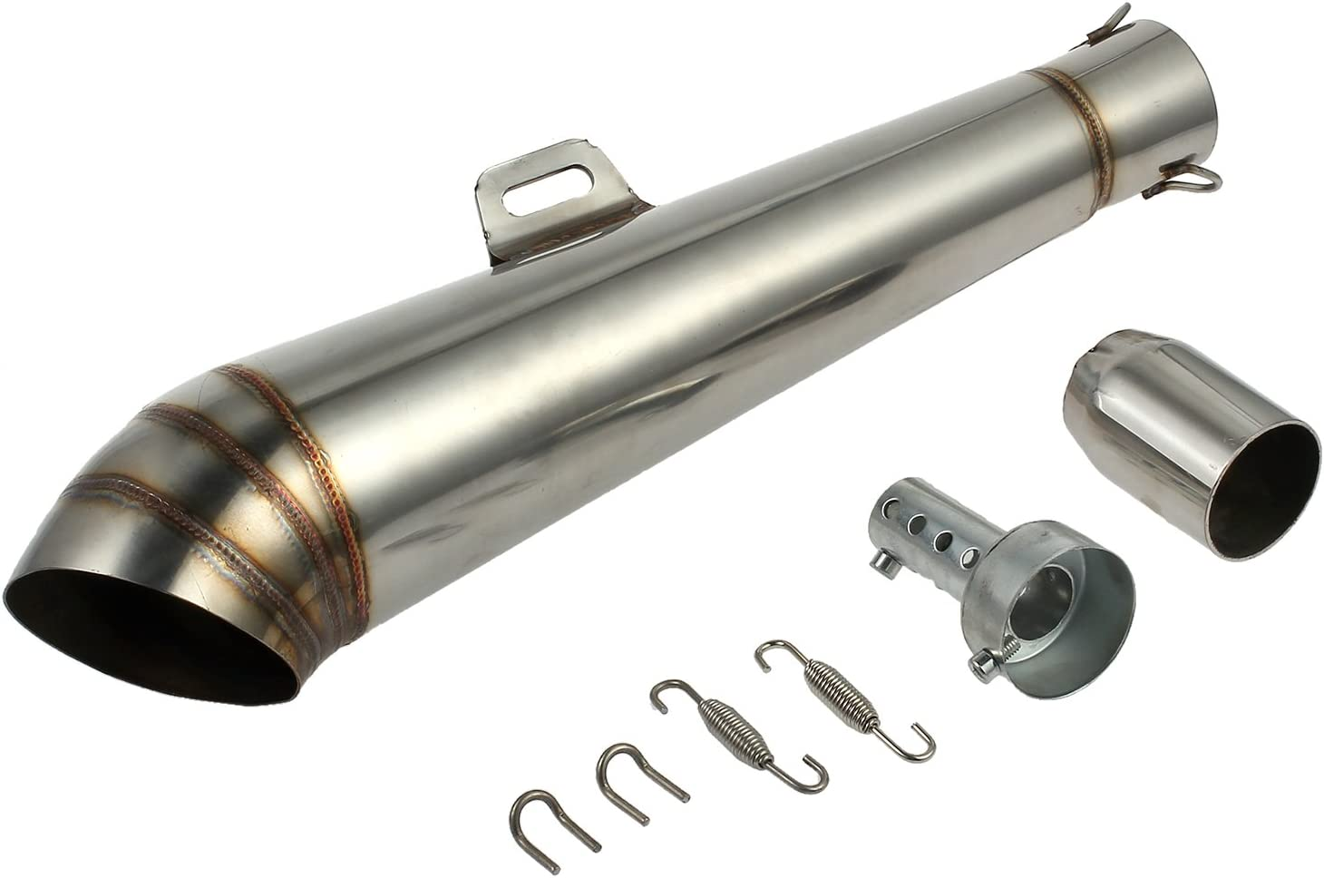 Justech Stainless Steel 38-51mm Motorcycle GP Slip-On Exhaust Muffler Silencer Pipe
