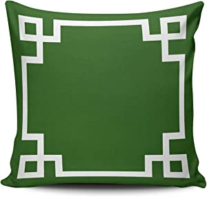 KAQIU Home Decoration Throw Pillowcase Emerald Green and White Greek Key Pattern Custom Pillow case Cushion Cover Fashion Chic Design Double Sided Printed Square Size 18X18 Inches