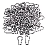 Yibuy 100x Multifunctional Spring Snap Quick Link Lock Carabiner Stainless M5 50mm