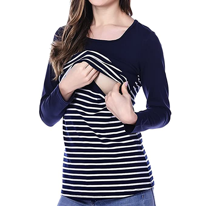 75e30c991d6 Women's Casual Breastfeeding Shirt Striped Patchwork Long Sleeve Maternity  and Nursing Tops (S, Navy